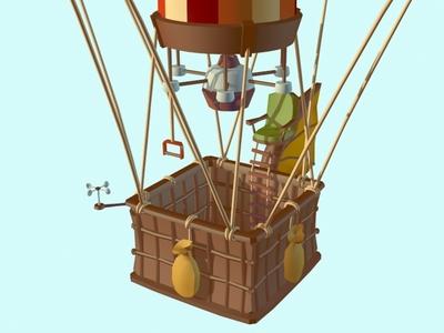 Ballooning - Work in progress verne jules modeling lowpoly game fogg phileas design balloon air hot 3dsmax