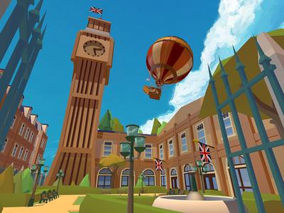 Leaving London verne phileas modeling lowpoly jules hot game fogg design balloon air 3dsmax
