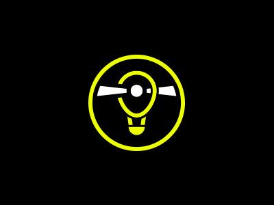 Quick Logo Exploration #2 - Balloon & lightbeam hot air balloon logo lighthouse light game fluo exploration dark contrast