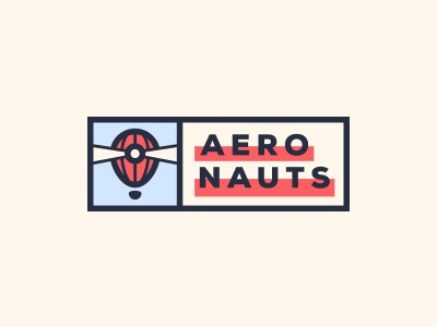 Logo refining #2 - Aeronauts logotype aeronauts logo lighthouse lightbeam light hot air balloon game fluo exploration dark contrast