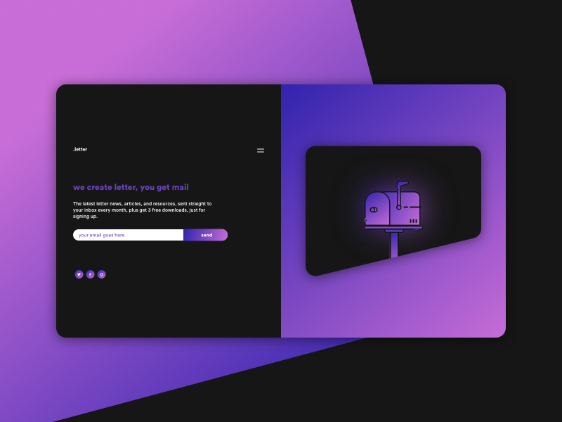 LETTER sketchapp experience everyday interface web ui minimal flat digital clean app newsletter