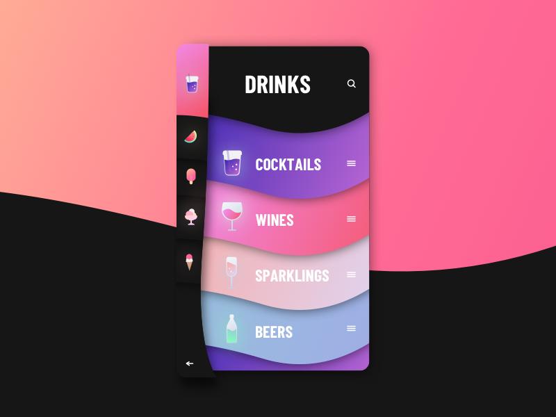 CANDY gradient sketchapp everyday drinks interface web ui minimal digital clean app menu
