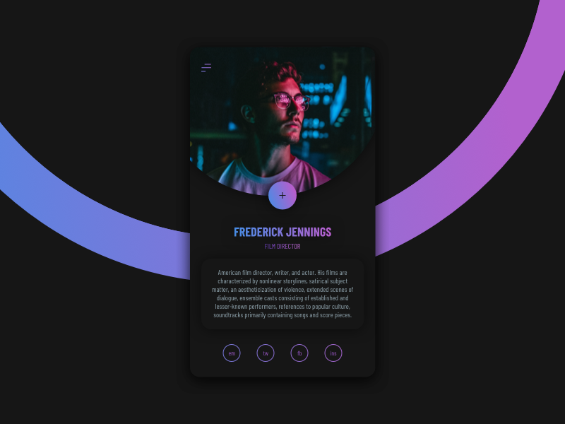 PROFILE profile app clean digital gradient minimal ui web interface experience everyday sketchapp