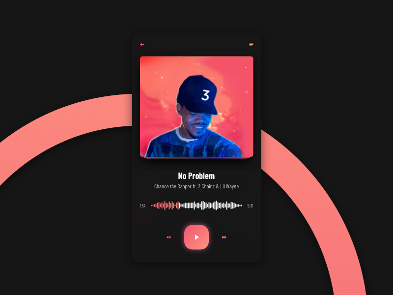 PLAYER music player app clean player gradient minimal ui web interface experience everyday sketchapp