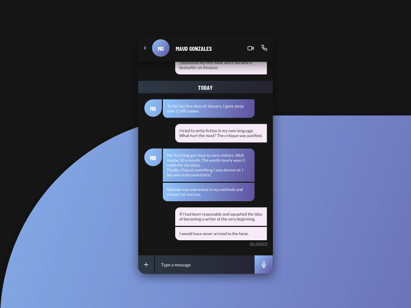 MESSAGE message app clean chat gradient minimal ui web interface experience everyday sketchapp