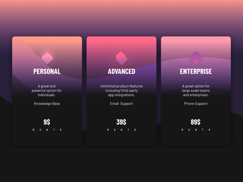 PRICING pricing app clean plans color minimal ui web interface experience everyday sketchapp