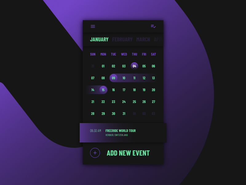 CALENDAR sketchapp everyday experience interface web ui minimal event gradient clean app calendar