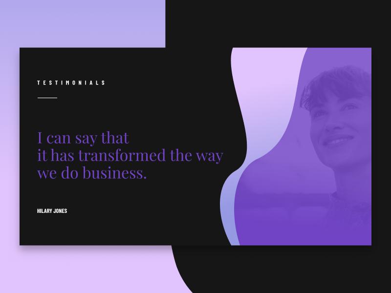 TESTIMONIAL testimonial app clean gradient dark minimal ui web interface experience everyday sketchapp