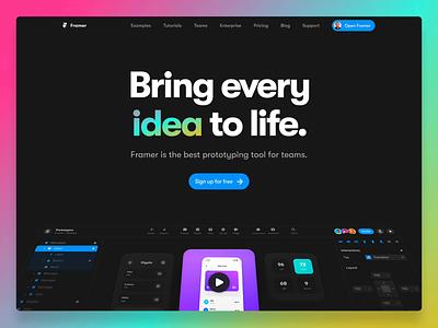 The all new Framer.com text gradient animation header website prototyping design framer