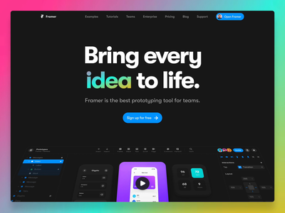 The all new Framer.com text gradient animation header website prototyping design framer