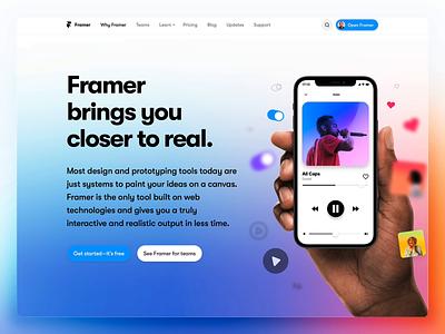 Why Framer device gradient webpage header website animation prototyping design prototype framer