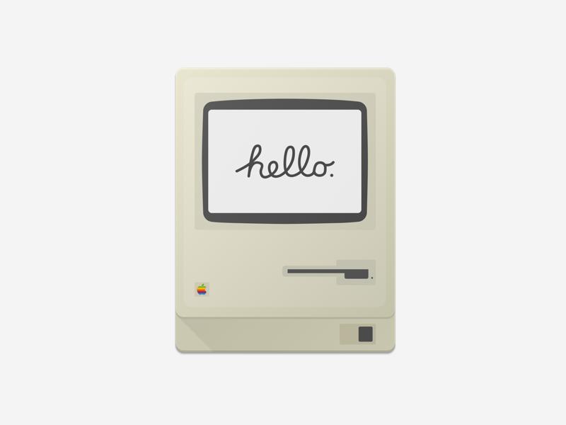 Mac 128k - Sketch Freebie material design apple hello 128k mac sketch freebie donwload