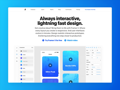 Framer.com, refreshed redesign framer x design tool web 2019 design website framer