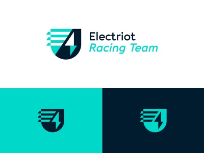E-racing team logo dynamic shield logo emblem logo emblem shield bolt lighting team racing team car cars electric racing visual identity branding brand identity logo design logo