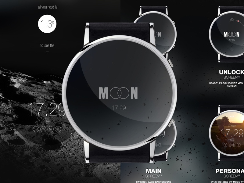 MOON smart watch concept full smart smartwatch watch iwatch moon devices ios android wear