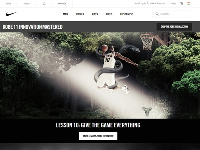 Nike Basketball, Mamba Lessons website, subpage graphic design