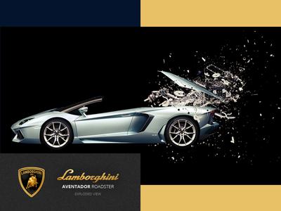 Lamborghini Aventador Roadster exploded view exploded car engine roadster aventador lamborghini