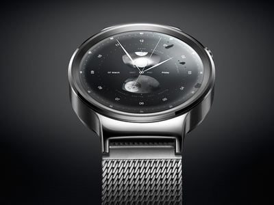 Moon Smartwatch Design Concept, Analog Main android iwatch user interface concept design ui time clock watch smartwatch