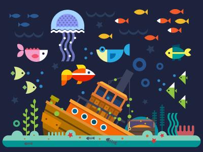 Sea life sea river port illustration flat ship underwater world jellyfish wreck treasure bottom