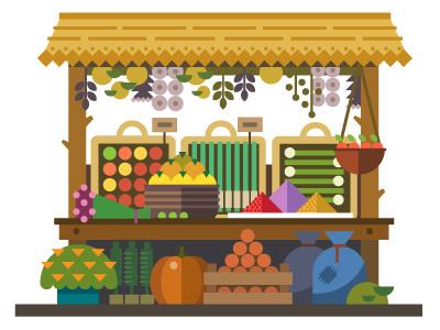 Food Market food market vegetables fruits vector flat illustration sale summer basket
