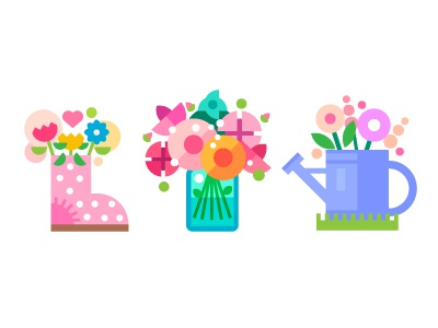 Spring flowers spring flowers flat icon illustration watering can flower shoes peony summer pink