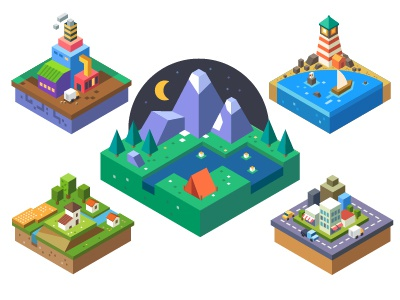 Urban and village landscapes isometry sea tourism mountain forest illustration flat village vector camp factory tree