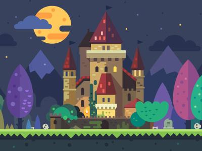 Set of fantastic backgrounds landscape nature fairytale game candy land forest temple castle flat background night magic