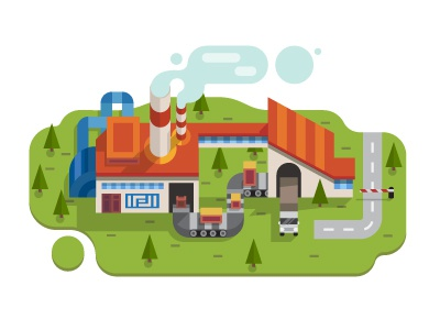 Factory  production pipe ecology isometry car smoke factory illustration flat vector