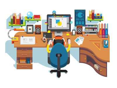 Workplace top view shelf books computer designer man interior table workplace illustration flat vector