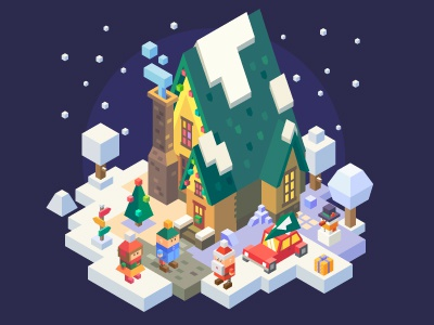 Christmas is coming ... decorations snowman winter christmas tree santa house 3d isometric illustration vector new year christmas