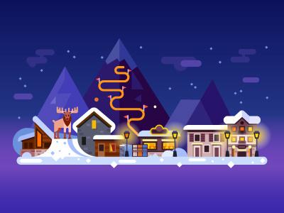 Winter Sweden illustration christmas snow house sweden elk skiing night flat mountains landscape winter