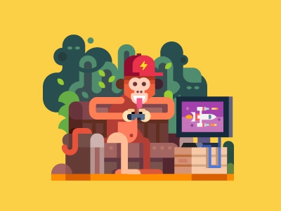 Monkey funky console game illustration interior flat vector animal character sofa play jungle monkey