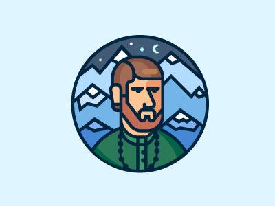 The Duke of mountains lineart duke sky person man mountain avatar portrait illustration flat vector