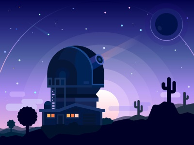 In search of Planet X astronomy flat desert vector comet sunset night illustration star planet telescope space