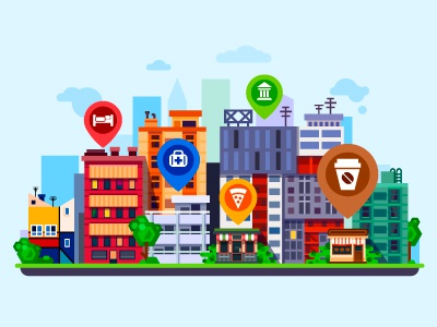 City with pins house building pizza coffee icon summer illustration pin flat vector landscape city
