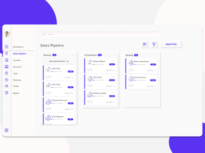 Dashboard - Sales Pipeline neomorphic low contrast website design design soft ui ui design neomorphism dashboard design