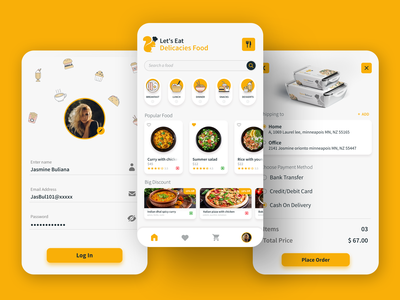RESTAURANT OR ONLINE FOOD DELIVERY APP UI DESIGN apple app ui design iphone app food logo food list design food menu confirm place order edit profile profile page ui login page app ui design food delivery hotel app ui restaurant online food online delivery food and drink food app ui