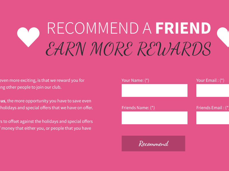 Recommend a friend form module homepage web design