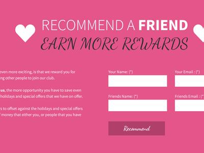 Recommend a friend form module homepage web design