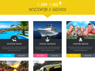 Holiday Breaks boxes offers hompage concept web design