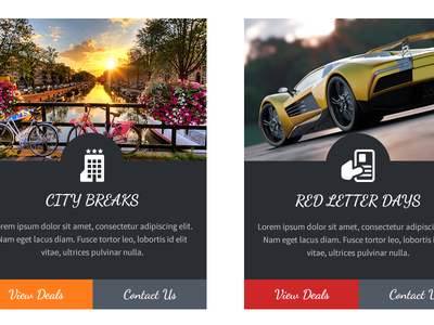 Holiday Breaks boxes offers homepage concept web design