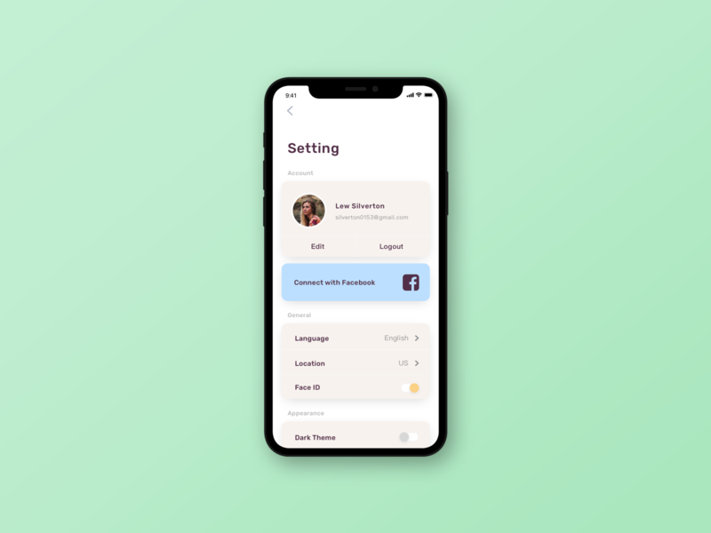 settings page settings page app ui design ui challenge