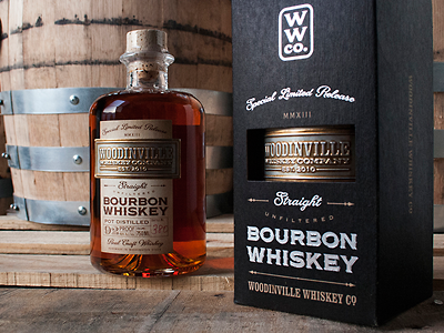 """""""Woodinville Bourbon Whiskey"""" by David Cole david cole woodinville whiskey co. lhf woodmere lhf packard script letterhead fonts western bold display commercial"""