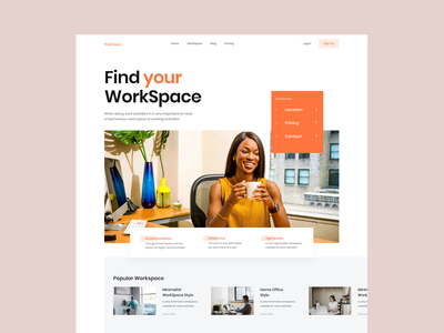 WorkSpace Hero Section website office coworking workspace hero section bold typography uiux minimal whitespace ui design clean