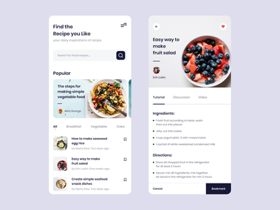 Cooking Recipe App recipe app cooking app ui design mobile app design app food recipe cooking uiux ui clean design