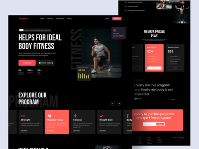 Fitness Landing Page exercise sport home page landing page workout gym fitness fitnes landing page typography bold dark mode website ui design uiux ui design clean