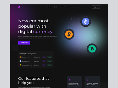 Cryptocurrency Company Landing Page landing page gradient dark mode crypto landing page company blockhain website ethereum bitcoin crypto cryptocurrency landing page cryptocurrency ui design minimal whitespace uiux ui design clean