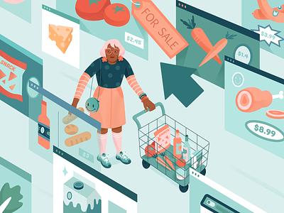 Washington Post Illustration art direction illustraion illustration flatdesign character vector pandemic online shopping