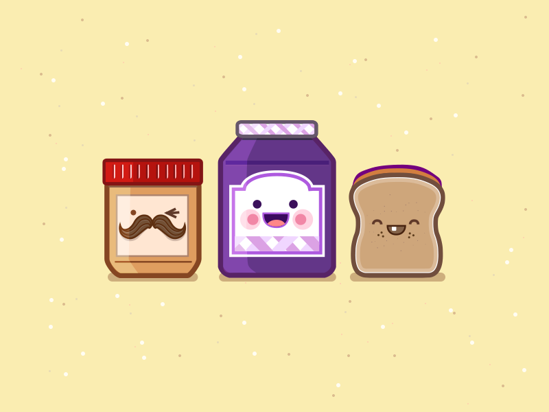 The PBJ Family pbj peanut butter jelly sandwich lunch crew icons characters vector illustration