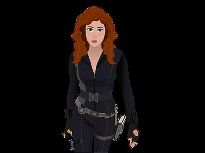 Natasha Romanoff - Black Widow anime cartoon characterdesign vector illustration